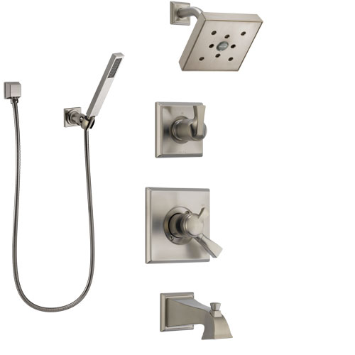 Delta Dryden Stainless Steel Finish Tub and Shower System with Dual Control Handle, Diverter, Showerhead, and Hand Shower SS174512SS4