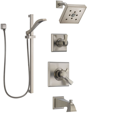 Delta Dryden Stainless Steel Finish Tub and Shower System with Dual Control Handle, Diverter, Showerhead, and Hand Shower with Slidebar SS174512SS5