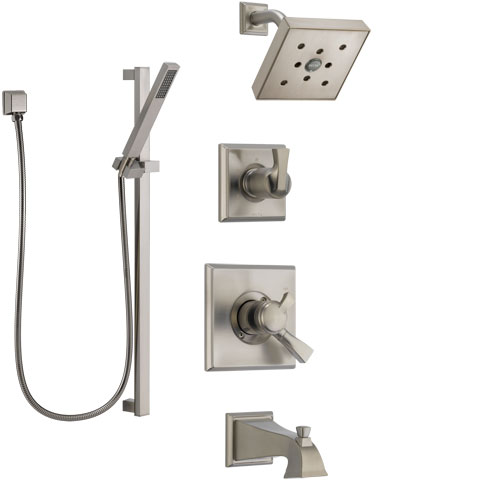 Delta Dryden Stainless Steel Finish Tub and Shower System with Dual Control Handle, Diverter, Showerhead, and Hand Shower with Slidebar SS174512SS6
