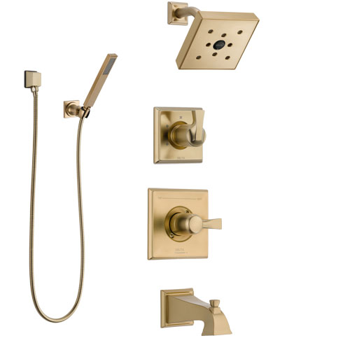 Delta Dryden Champagne Bronze Tub and Shower System with Dual Control Handle, Diverter, Showerhead, and Hand Shower with Wall Bracket SS17451CZ3