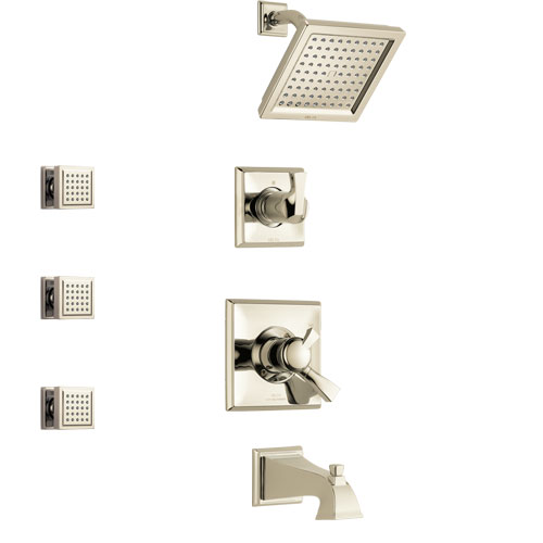 Delta Dryden Polished Nickel Finish Tub and Shower System with Dual Control Handle, 3-Setting Diverter, Showerhead, and 3 Body Sprays SS17451PN1