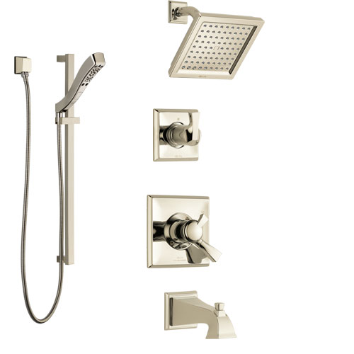 Delta Dryden Polished Nickel Tub and Shower System with Dual Control Handle, 3-Setting Diverter, Showerhead, and Hand Shower with Slidebar SS17451PN3