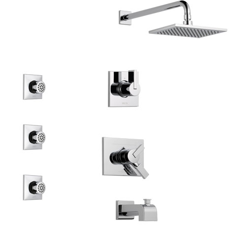 Delta Vero Chrome Finish Tub and Shower System with Dual Control Handle, 3-Setting Diverter, Showerhead, and 3 Body Sprays SS1745311