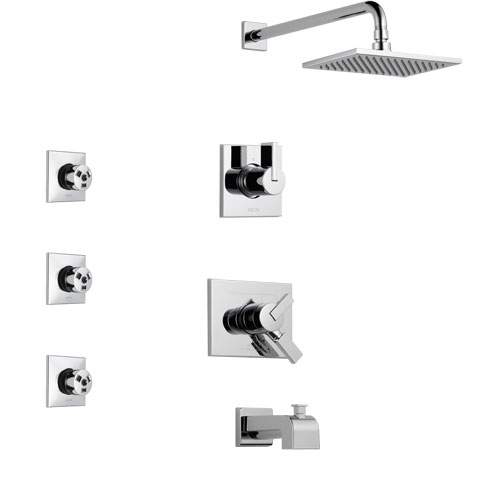 Delta Vero Chrome Finish Tub and Shower System with Dual Control Handle, 3-Setting Diverter, Showerhead, and 3 Body Sprays SS1745312