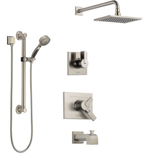 Delta Vero Stainless Steel Finish Tub and Shower System with Dual Control Handle, Diverter, Showerhead, and Hand Shower with Grab Bar SS174531SS3