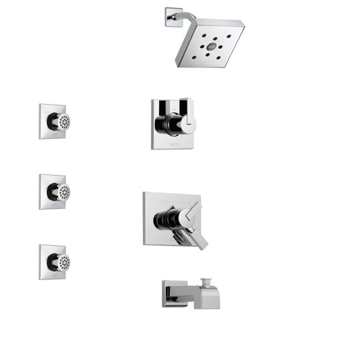 Delta Vero Chrome Finish Tub and Shower System with Dual Control Handle, 3-Setting Diverter, Showerhead, and 3 Body Sprays SS1745321