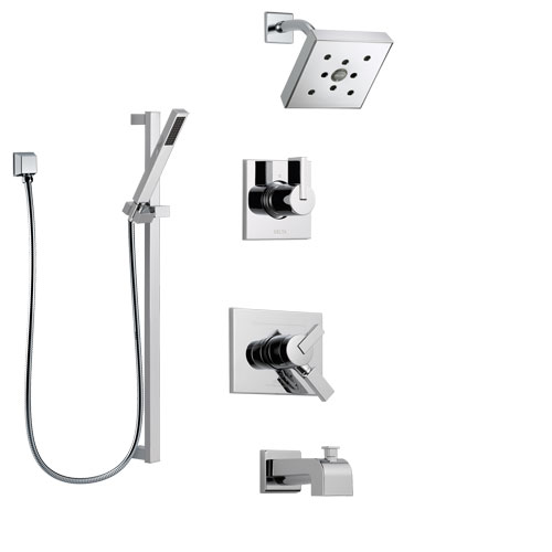 Delta Vero Chrome Finish Tub and Shower System with Dual Control Handle, 3-Setting Diverter, Showerhead, and Hand Shower with Slidebar SS1745324