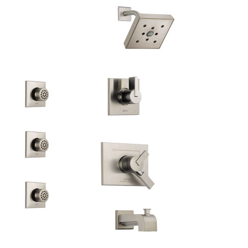 Delta Vero Stainless Steel Finish Tub and Shower System with Dual Control Handle, 3-Setting Diverter, Showerhead, and 3 Body Sprays SS174532SS1