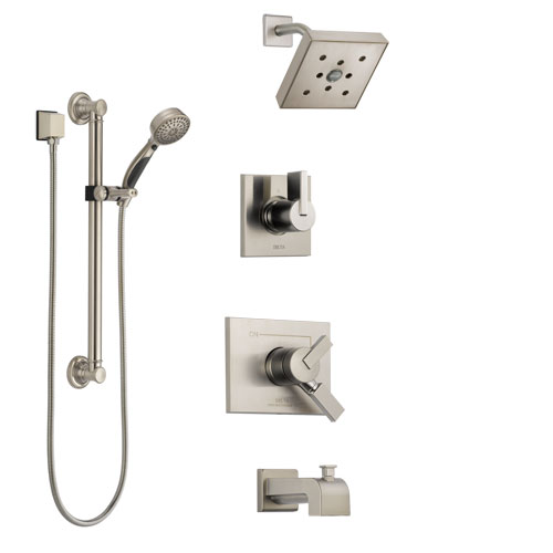 Delta Vero Stainless Steel Finish Tub and Shower System with Dual Control Handle, Diverter, Showerhead, and Hand Shower with Grab Bar SS174532SS3