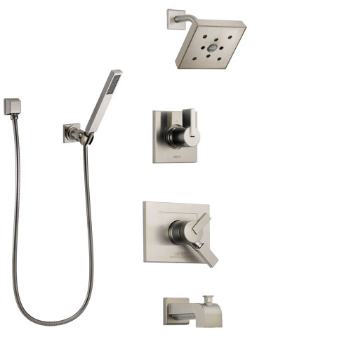 Delta Vero Stainless Steel Finish Tub and Shower System with Dual Control Handle, Diverter, Showerhead, and Hand Shower with Wall Bracket SS174532SS4