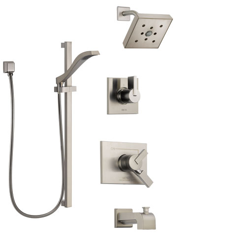 Delta Vero Stainless Steel Finish Tub and Shower System with Dual Control Handle, Diverter, Showerhead, and Hand Shower with Slidebar SS174532SS5