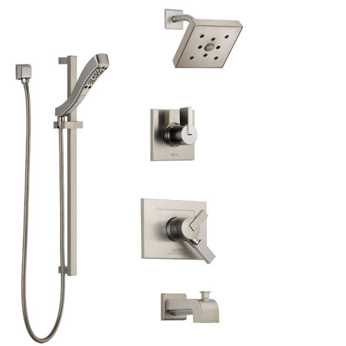 Delta Vero Stainless Steel Finish Tub and Shower System with Dual Control Handle, Diverter, Showerhead, and Hand Shower with Slidebar SS174532SS6