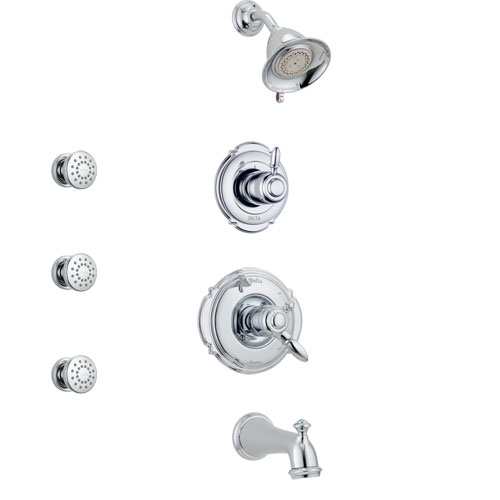 Delta Victorian Chrome Finish Tub and Shower System with Dual Control Handle, 3-Setting Diverter, Showerhead, and 3 Body Sprays SS1745511