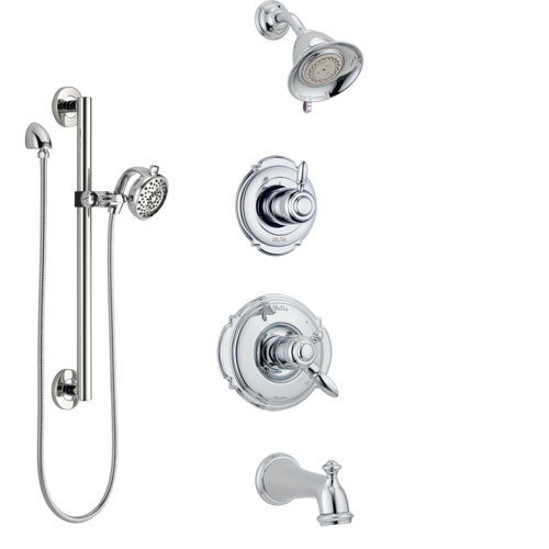 Delta Victorian Chrome Finish Tub and Shower System with Dual Control Handle, 3-Setting Diverter, Showerhead, and Hand Shower with Grab Bar SS1745515
