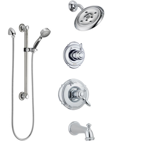 Delta Victorian Chrome Finish Tub and Shower System with Dual Control Handle, 3-Setting Diverter, Showerhead, and Hand Shower with Grab Bar SS1745523
