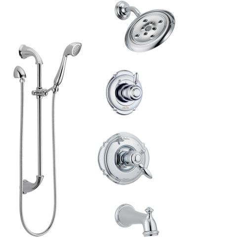 Delta Victorian Chrome Finish Tub and Shower System with Dual Control Handle, 3-Setting Diverter, Showerhead, and Hand Shower with Slidebar SS1745524