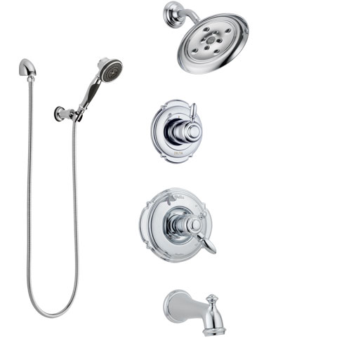Delta Victorian Chrome Finish Tub and Shower System with Dual Control Handle, Diverter, Showerhead, and Hand Shower with Wall Bracket SS1745526