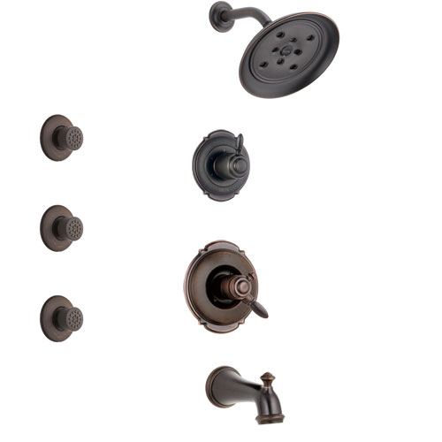 Delta Victorian Venetian Bronze Finish Tub and Shower System with Dual Control Handle, 3-Setting Diverter, Showerhead, and 3 Body Sprays SS174552RB1