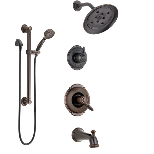 Delta Victorian Venetian Bronze Tub and Shower System with Dual Control Handle, Diverter, Showerhead, and Hand Shower with Grab Bar SS174552RB3