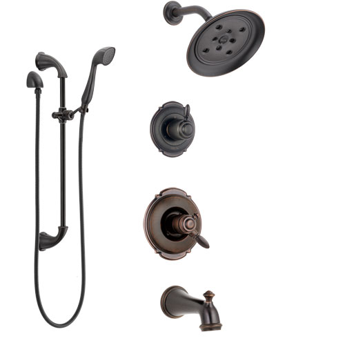 Delta Victorian Venetian Bronze Tub and Shower System with Dual Control Handle, Diverter, Showerhead, and Hand Shower with Slidebar SS174552RB4