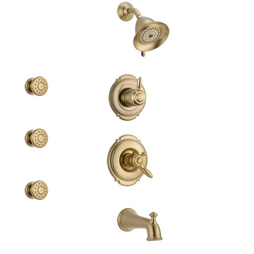 Delta Victorian Champagne Bronze Finish Tub and Shower System with Dual Control Handle, 3-Setting Diverter, Showerhead, and 3 Body Sprays SS17455CZ1