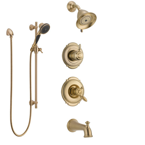Delta Victorian Champagne Bronze Tub and Shower System with Dual Control Handle, Diverter, Showerhead, and Hand Shower with Slidebar SS17455CZ3