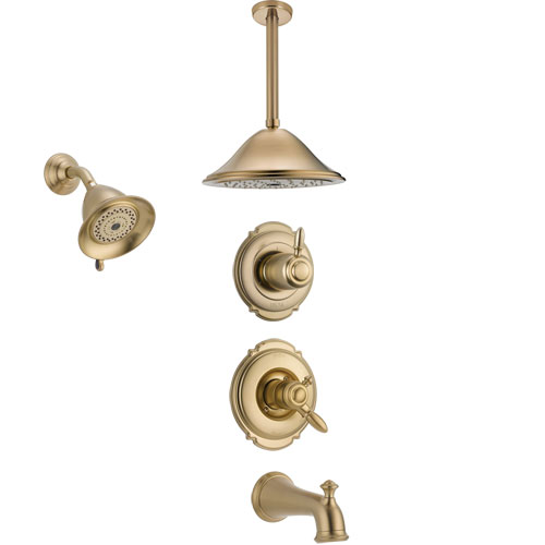 Delta Victorian Champagne Bronze Tub and Shower System with Dual Control Handle, Diverter, Showerhead, and Ceiling Mount Showerhead SS17455CZ5