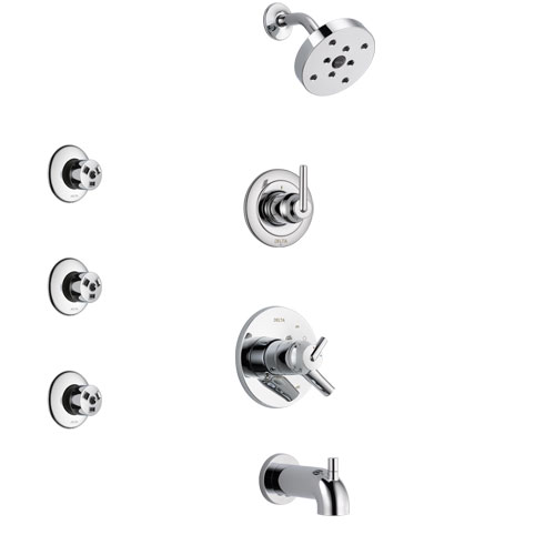 Delta Trinsic Chrome Finish Tub and Shower System with Dual Control Handle, 3-Setting Diverter, Showerhead, and 3 Body Sprays SS174592