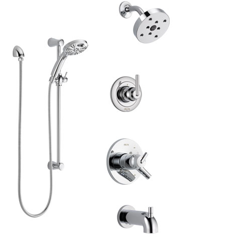 Delta Trinsic Chrome Finish Dual Control Handle Tub and Shower System, 3-Setting Diverter, Showerhead, and Temp2O Hand Shower with Slidebar SS174594