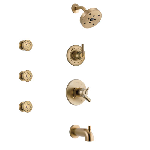 Delta Trinsic Champagne Bronze Finish Tub and Shower System with Dual Control Handle, 3-Setting Diverter, Showerhead, and 3 Body Sprays SS17459CZ1