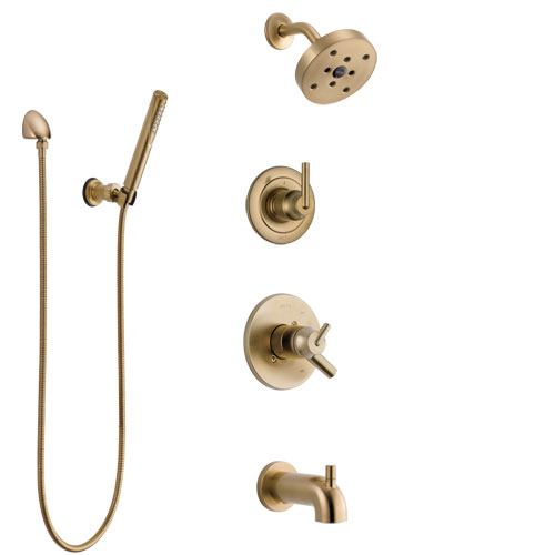 Delta Trinsic Champagne Bronze Tub and Shower System with Dual Control Handle, Diverter, Showerhead, and Hand Shower with Wall Bracket SS17459CZ3
