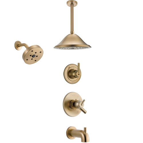 Delta Trinsic Champagne Bronze Tub and Shower System with Dual Control Handle, 3-Setting Diverter, Showerhead, and Ceiling Mount Showerhead SS17459CZ4