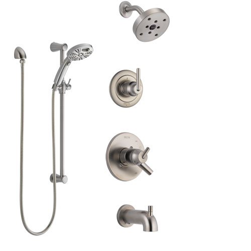 Delta Trinsic Stainless Steel Finish Dual Control Handle Tub and Shower System, Diverter, Showerhead, and Temp2O Hand Shower with Slidebar SS17459SS4