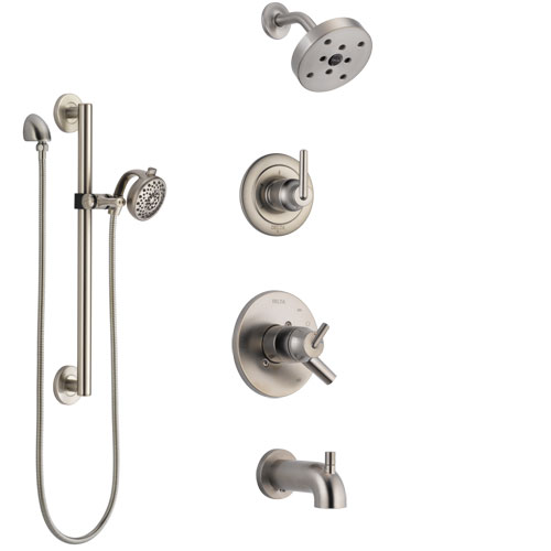 Delta Trinsic Stainless Steel Finish Tub and Shower System with Dual Control Handle, Diverter, Showerhead, and Hand Shower with Grab Bar SS17459SS6