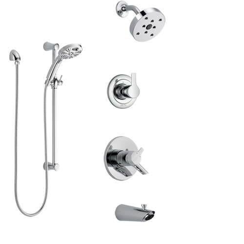 Delta Compel Chrome Finish Tub and Shower System with Dual Control Handle, 3-Setting Diverter, Showerhead, & Temp2O Hand Shower with Slidebar SS174614