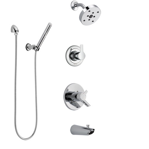 Delta Compel Chrome Finish Tub and Shower System with Dual Control Handle, 3-Setting Diverter, Showerhead, and Hand Shower with Wall Bracket SS174616