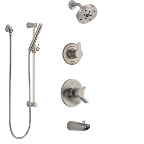 Delta Compel Stainless Steel Finish Tub and Shower System with Dual Control Handle, Diverter, Showerhead, and Hand Shower with Slidebar SS17461SS5