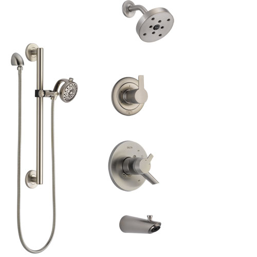 Delta Compel Stainless Steel Finish Tub and Shower System with Dual Control Handle, Diverter, Showerhead, and Hand Shower with Grab Bar SS17461SS6