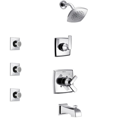 Delta Ashlyn Chrome Finish Tub and Shower System with Dual Control Handle, 3-Setting Diverter, Showerhead, and 3 Body Sprays SS174641