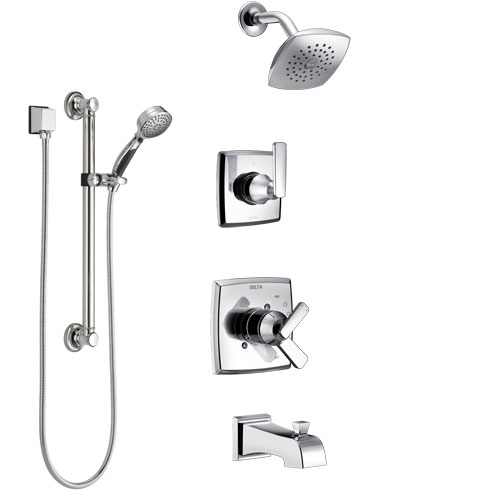 Delta Ashlyn Chrome Finish Tub and Shower System with Dual Control Handle, 3-Setting Diverter, Showerhead, and Hand Shower with Grab Bar SS174643