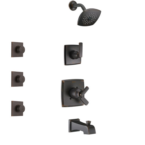 Delta Ashlyn Venetian Bronze Finish Tub and Shower System with Dual Control Handle, 3-Setting Diverter, Showerhead, and 3 Body Sprays SS17464RB2