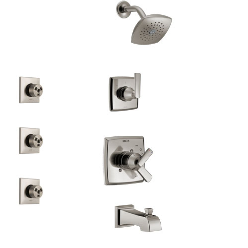 Delta Ashlyn Stainless Steel Finish Tub and Shower System with Dual Control Handle, 3-Setting Diverter, Showerhead, and 3 Body Sprays SS17464SS1