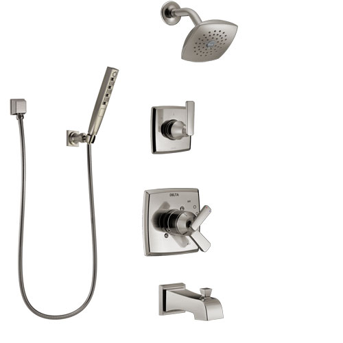 Delta Ashlyn Stainless Steel Finish Tub and Shower System with Dual Control Handle, Diverter, Showerhead, and Hand Shower with Wall Bracket SS17464SS4