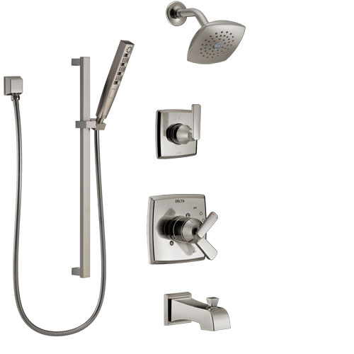 Delta Ashlyn Stainless Steel Finish Tub and Shower System with Dual Control Handle, Diverter, Showerhead, and Hand Shower with Slidebar SS17464SS5