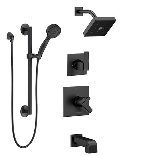 Delta Ara Matte Black Finish Modern Square Complete Shower System with Tub spout, Grab Bar with Hand Spray, and Wall Mount Showerhead SS174673BL1