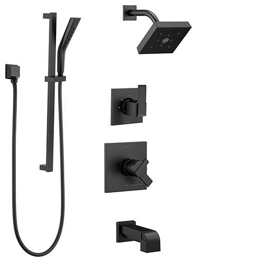 Delta Ara Matte Black Finish Modern Square Complete Shower System with Tub spout, Hand Shower with Slidebar, and Wall Mount Showerhead SS174673BL2