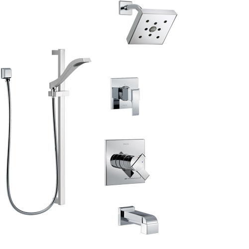 Delta Ara Chrome Finish Tub and Shower System with Dual Control Handle, 3-Setting Diverter, Showerhead, and Hand Shower with Slidebar SS174675