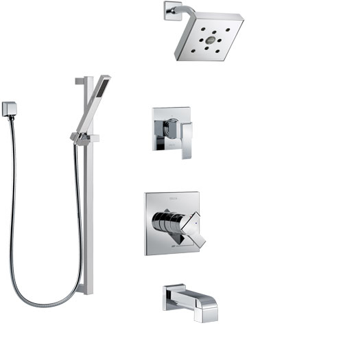 Delta Ara Chrome Finish Tub and Shower System with Dual Control Handle, 3-Setting Diverter, Showerhead, and Hand Shower with Slidebar SS174676