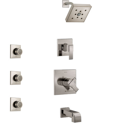 Delta Ara Stainless Steel Finish Tub and Shower System with Dual Control Handle, 3-Setting Diverter, Showerhead, and 3 Body Sprays SS17467SS1