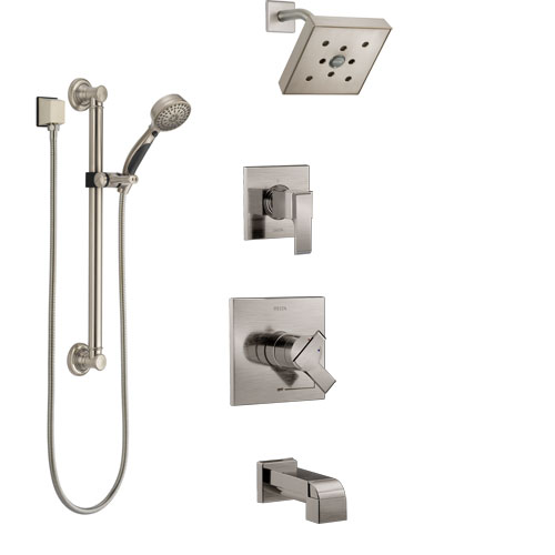 Delta Ara Stainless Steel Finish Tub and Shower System with Dual Control Handle, Diverter, Showerhead, and Hand Shower with Grab Bar SS17467SS3